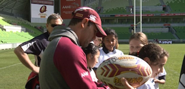 Maroons conduct schools clinic at AAMI Park