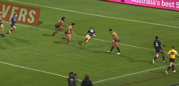Momirovski slides over for his first try in Storm colours