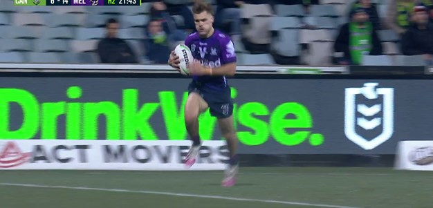 Papenhuyzen cleans up a kick then runs 90 metres to score