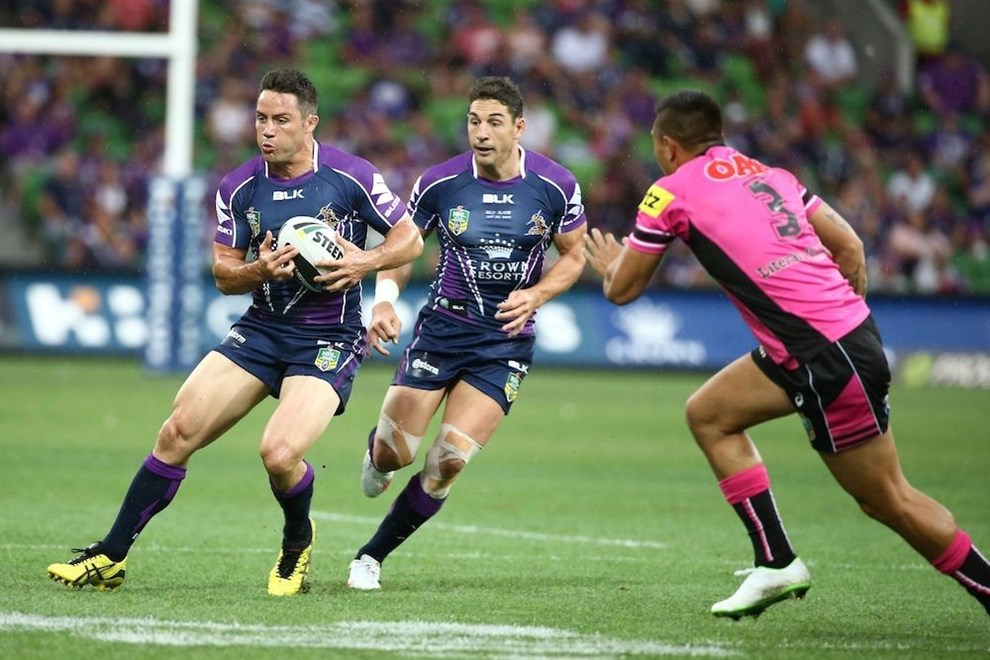 Digital Image by Brett Crockford © nrlphotos.com :	Cooper Cronk  NRL, Rugby League, Round 2, Melbourne Storm v  Penrith Panthers @ AAMI Park, Melbourne, VIC, Saturday March 15th, 2014.