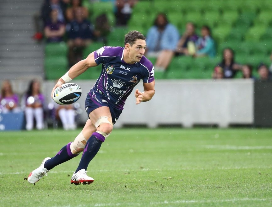 Digital Image by Brett Crockford © nrlphotos.com :   Billy Slater NRL, Rugby League, Round 2, Melbourne Storm v  Penrith Panthers @ AAMI Park, Melbourne, VIC, Saturday March 15th, 2014.