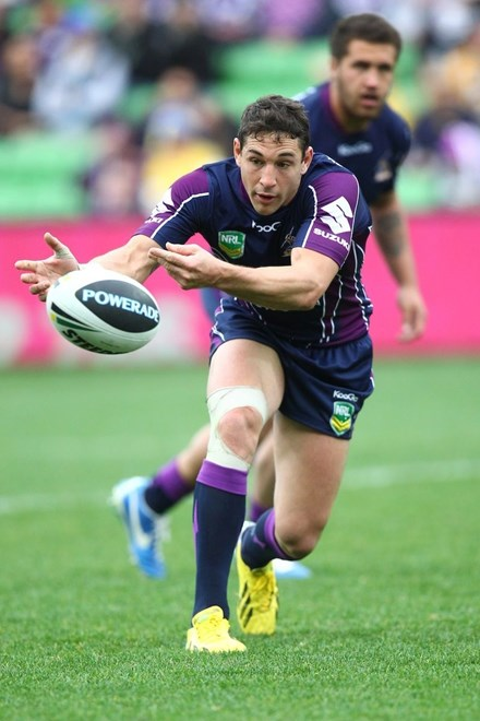 Billy Slater (Melbourne Storm):	NRL, Rugby League, Round 24, Melbourne Storm v Parramatta Eels @ AAMI Park, Melbourne, VIC, Sunday August 25th, 2013. Digital Image by Ian Knight © nrlphotos.com