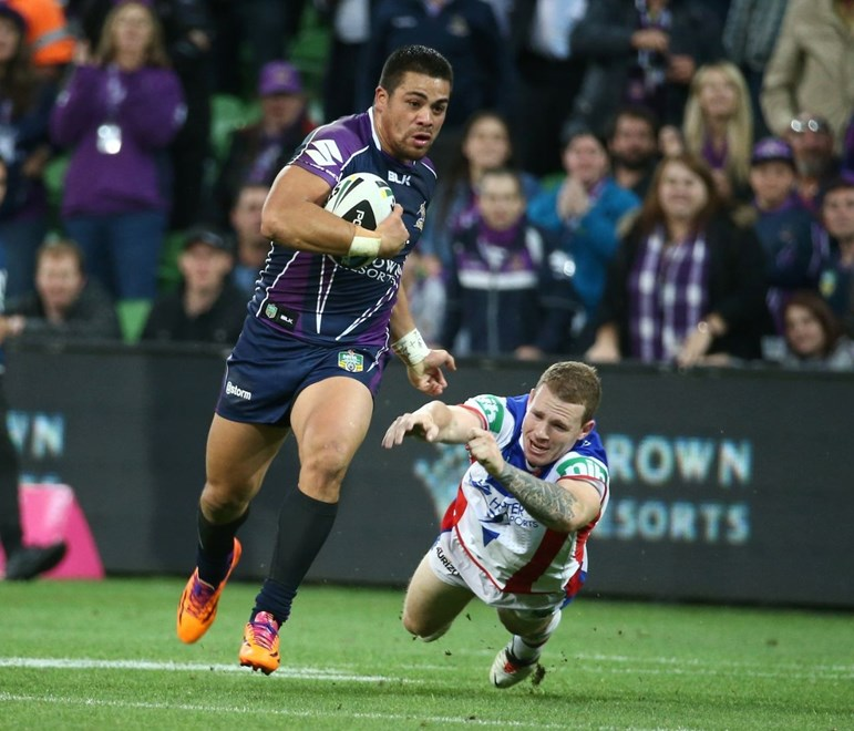 Digital Image by Brett Crockford © nrlphotos.com :	Young Tonumaipea  NRL, Rugby League, Round 3 Melbourne Storm v  Newcastle Knights @ AAMI Park, Melbourne, VIC, Monday March 24th, 2014.