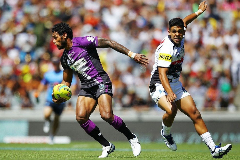 Storm's Sisa Waqa in action. Day One of the Dick Smith NRL Auckland Nines, Eden Park, Auckland, New Zealand. Saturday 15th February 2014. Photo: www.photosport.co.nz