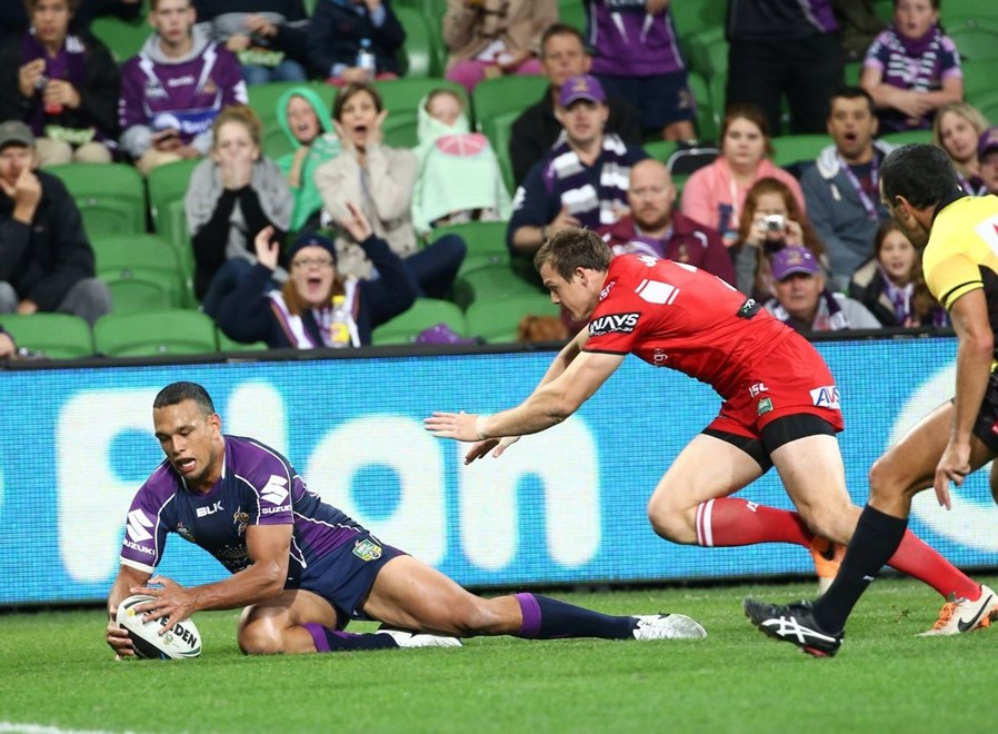 Digital Image by Brett Crockford © nrlphotos.com :    Will Chambers scores for the Storm NRL, Rugby League, Round 6, Melbourne Storm v  St George-Illawarra Dragons @ AAMI Park, Melbourne, VIC, Sunday April 14th, 2014.
