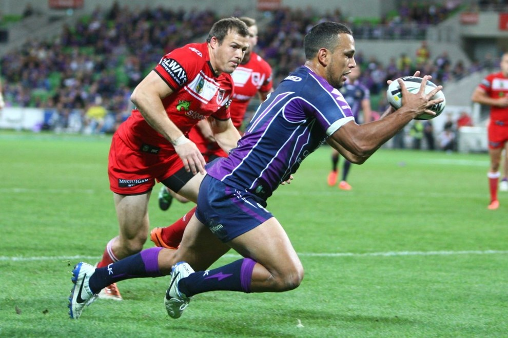 Digital Image by Ian Knight © nrlphotos.com: Will Chambers (Melbourne Storm) NRL, Rugby League, Round 6, Melbourne Storm v St George-Illawarra @ AAMI Park, Melbourne, VIC, Monday April 14th, 2014.