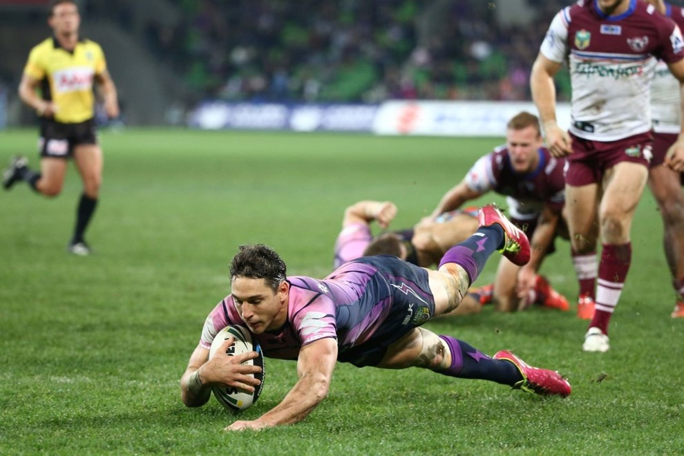 Digital Image by Brett Crockford © nrlphotos.com :	    Billy Slater scores for the Storm NRL, Rugby League, Round 9, Melbourne Storm v  Manly-Warringah Sea Eagles @ AAMI Park, Melbourne, VIC, Saturday May 10th, 2014.