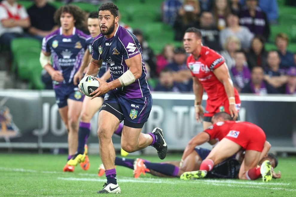 Digital Image by Ian Knight © nrlphotos.com: Jesse Bromwich (Melbourne Storm) NRL, Rugby League, Round 6, Melbourne Storm v St George-Illawarra @ AAMI Park, Melbourne, VIC, Monday April 14th, 2014.
