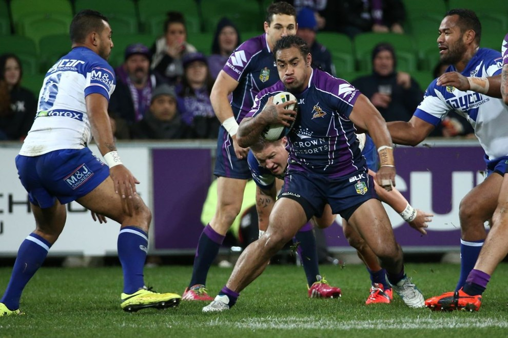 Digital Image by Brett Crockford © nrlphotos.com :	    Mahe Fonua   NRL, Rugby League, Round 18,  Melbourne Storm v  Canterbury Bankstown Bulldogs @ AAMI Park, Melbourne, VIC, Saturday 12th July, 2014.