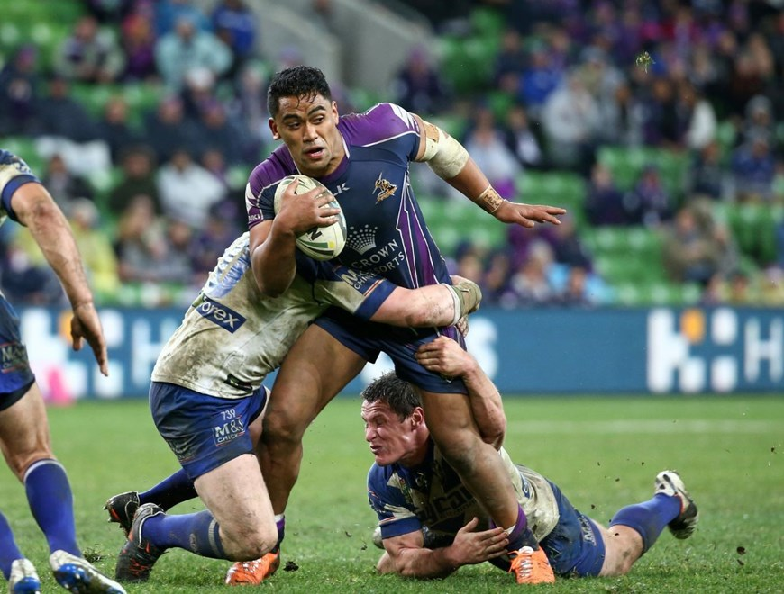 Digital Image by Brett Crockford © nrlphotos.com :	    Junior Moors  NRL, Rugby League, Round 18,  Melbourne Storm v  Canterbury Bankstown Bulldogs @ AAMI Park, Melbourne, VIC, Saturday 12th July, 2014.