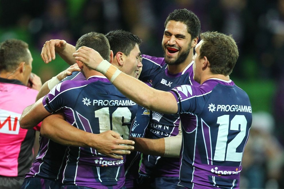 Digital Image by Ian Knight © nrlphotos.com: NRL, Rugby League, Round 19, Melbourne Storm v Canberra Raiders @ AAMI Park, Melbourne, VIC, Saturday July 19th, 2014.