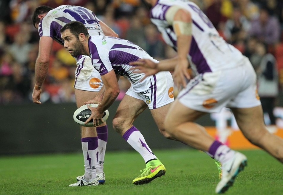 Photo by Colin Whelan copyright © nrlphotos.com :     Cameron Smith scoots                          NRL Rugby League, Round 20 Brisbane Broncos v Melbourne Storm at Suncorp Stadium, Friday July 25th 2014.