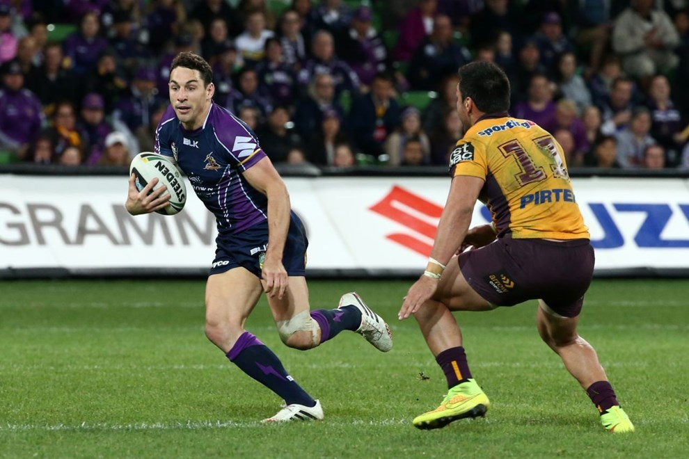 Billy Slater  Digital Image by Brett Crockford ©nrlphotos.com :	    NRL, Rugby League, Round 26,  Melbourne Storm v  Brisbane Broncos @ AAMI Park, Melbourne, VIC, Friday 5th September, 2014.