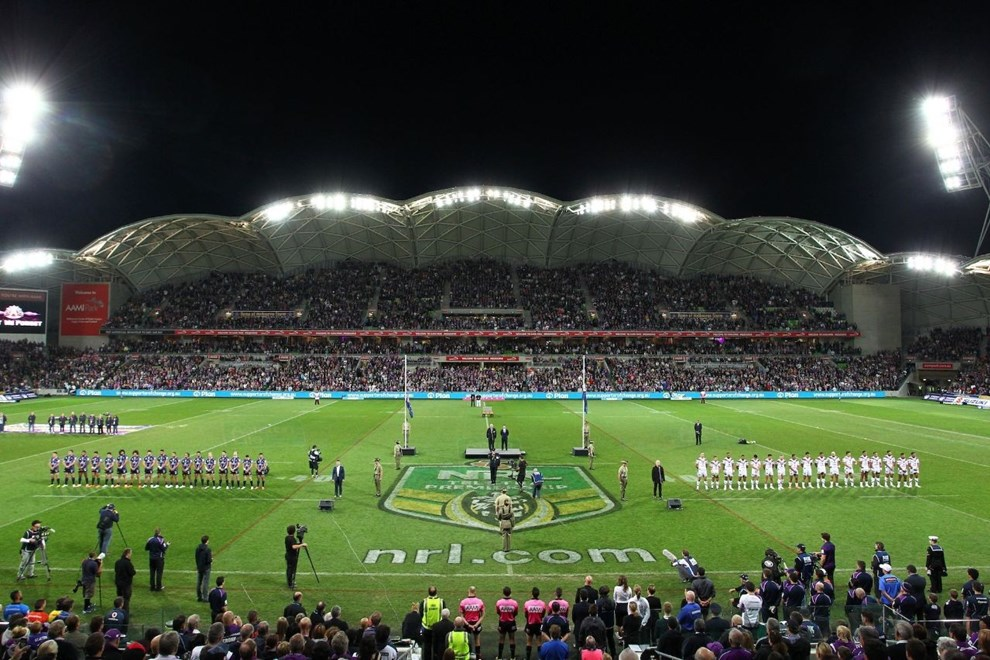 Digital Image by Ian Knight © nrlphotos.com: NRL, Rugby League, Round 8, ANZAC Day, Melbourne Storm v New Zealand Warriors @ AAMI Park, Melbourne, VIC, Friday April 25th, 2014.