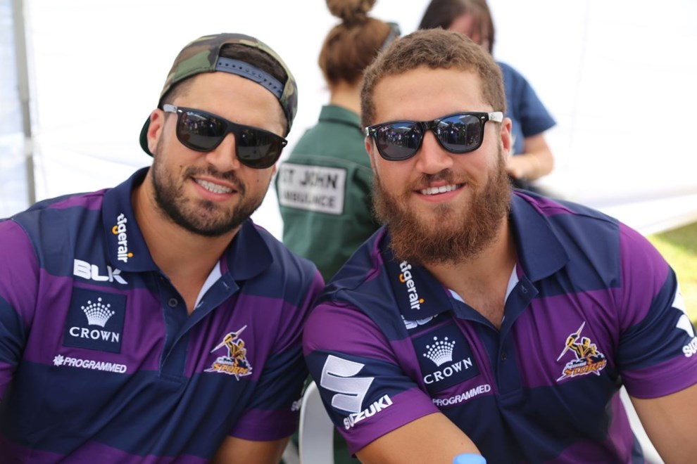 Brothers Jesse and Kenny Bromwich at the 2014 Melbourne Storm Family Day.