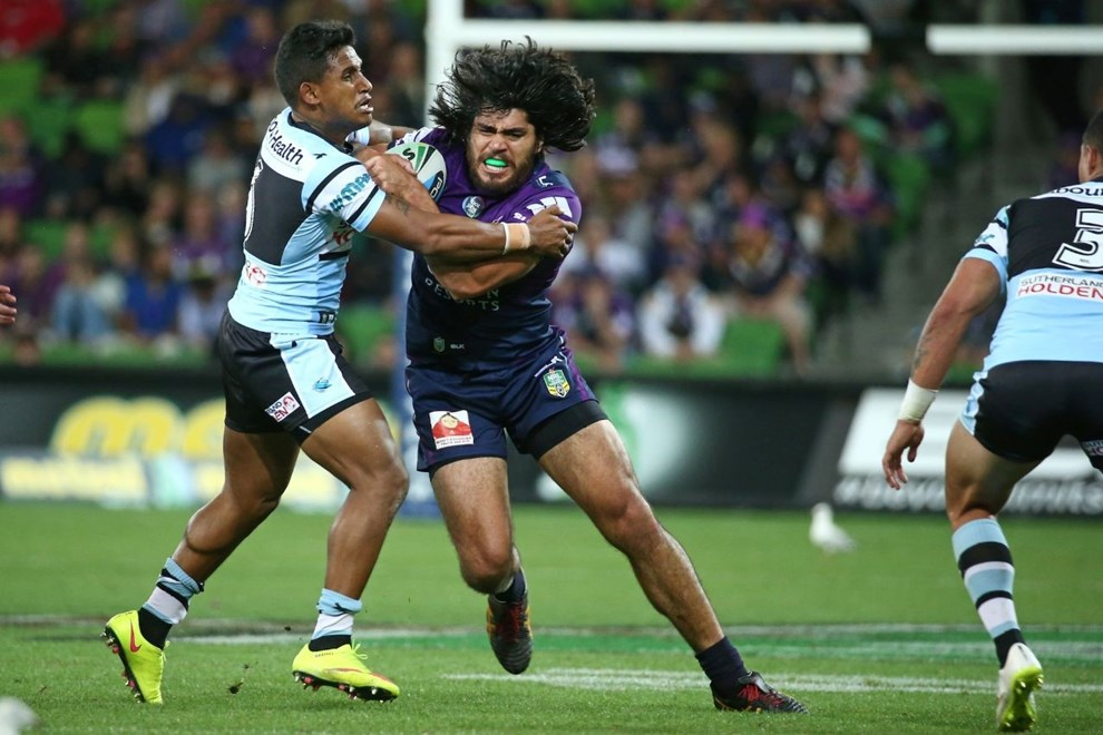 Tohu Harris   Digital Image by Brett Crockford ©nrlphotos.com :	    NRL, Rugby League, Round 3,  Melbourne Storm v  Cronulla-Sutherland Sharks @ AAMI Park, Melbourne, VIC, Saturday 21 March, 2015.