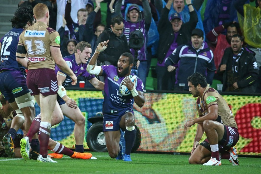 Marika Koroibete   Digital Image by Brett Crockford ©nrlphotos.com :	    NRL, Rugby League, Round 8, ANZAC Day,  Melbourne Storm v  Manly Sea Eagles @ AAMI Park, Melbourne, VIC, Saturday 25 April, 2015.