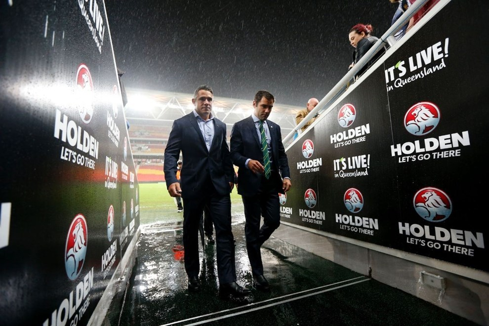 Cameron Smith leaves the water logged pitch with Corey Parker : Digital Image Charles Knight © NRLphotos. ARL Representative Rugby League, Australia v New Zealand at Suncorp Stadium, Brisbane, May 1st 2015.