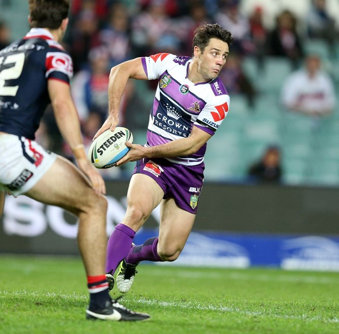 Cooper Cronk   :Digital Image Grant Trouville © NRLphotos  : NRL Rugby League Round 12 - Sydney Roosters v Melbourne Storm at SFS Allianz Stadium,Monday June 1st  2015.