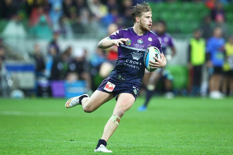 Cameron Munster (Melbourne Storm)  Digital Image by Ian Knight © nrlphotos.com: NRC, Rugby League, Round 8, Melbourne Storm v Manly Sea Eagles @ AAMI Park, Melbourne, VIC, Saturday April 25th, 2015.
