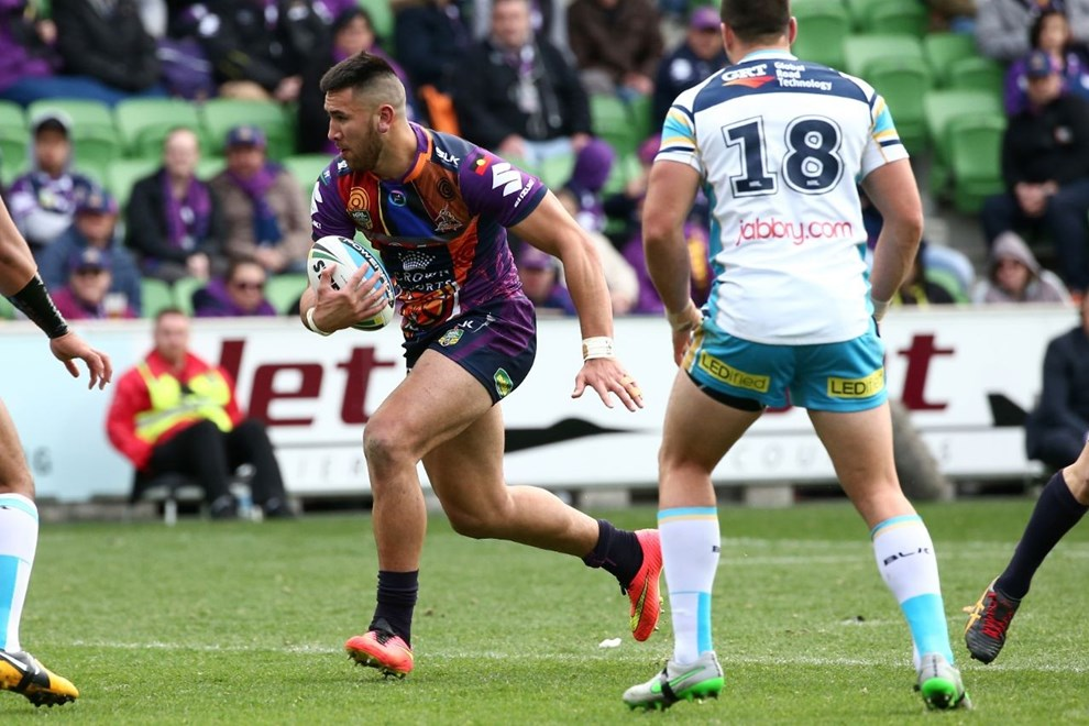 Nelson Asofa-Solomona   Digital Image by Brett Crockford ©nrlphotos.com :	    NRL, Rugby League, Round 22,  Melbourne Storm v Gold Coast Titans @ AAMI Park, Melbourne, VIC, Sunday 09 August, 2015.