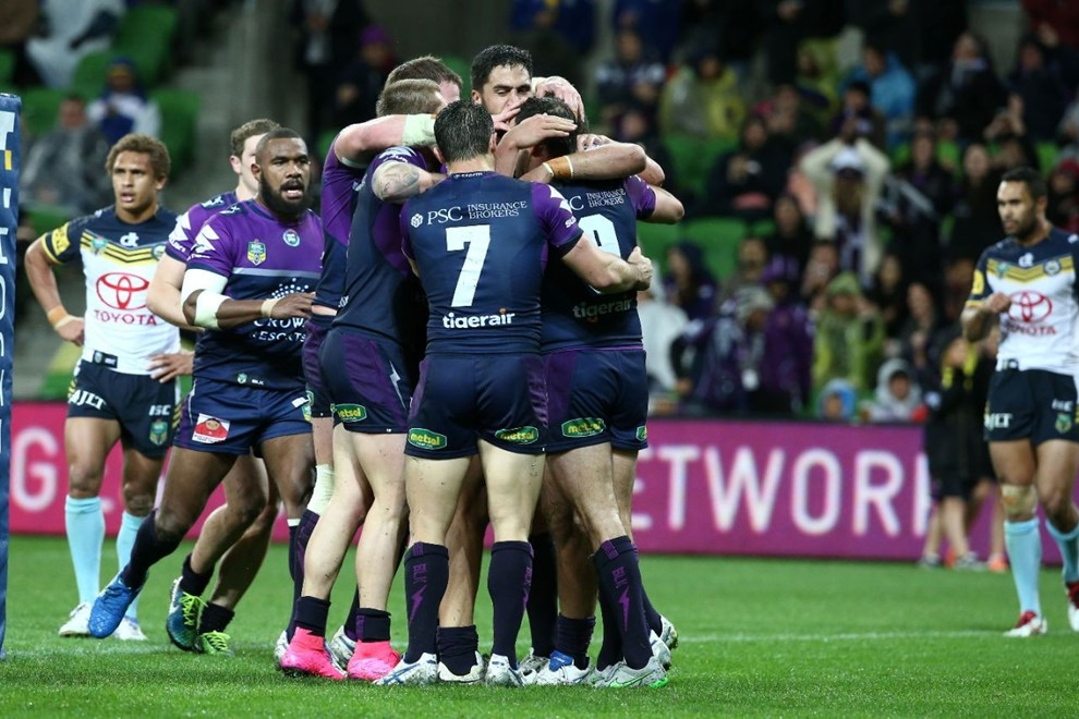 Melbourne Storm celebrate   Digital Image by Brett Crockford ©nrlphotos.com :	    NRL, Rugby League, Round 25,  Melbourne Storm v North Queensland Cowboys @ AAMI Park, Melbourne, VIC, Saturday 29 August, 2015.