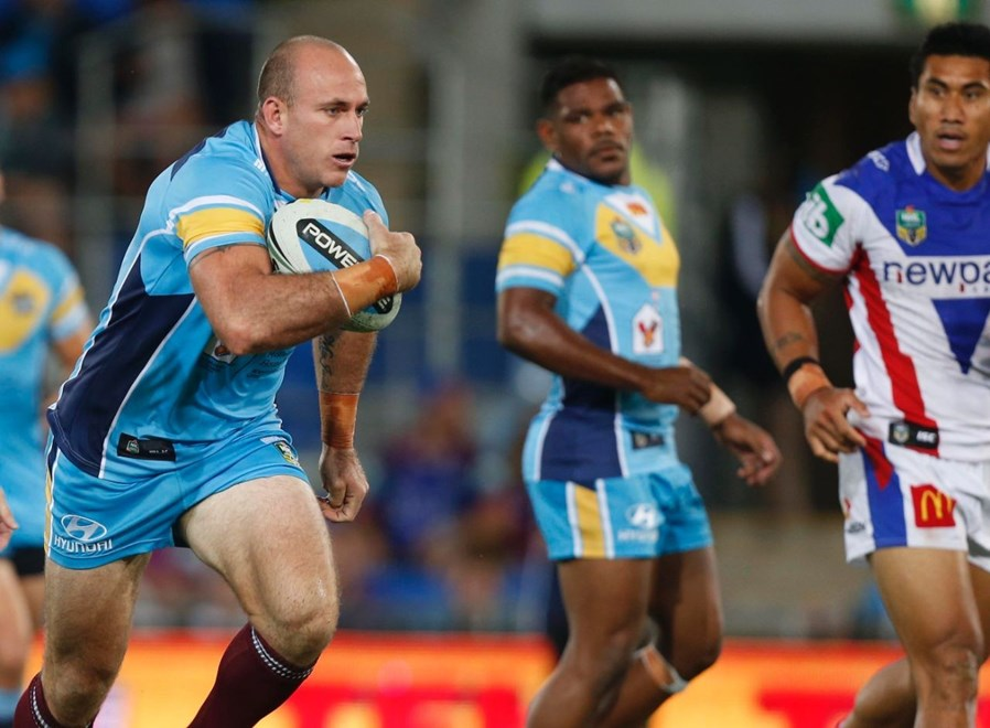 Matt White : Digital Image by Charles Knight copyright © NRLphotos. NRL, Round 3, Gold Coast Titans v Newcastle Knights at Cbus Super Stadium, Gold Coast, Saturday March 22nd 2015.
