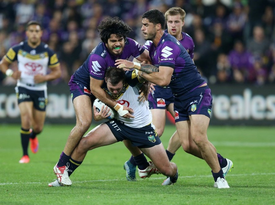 :Digital Image Grant Trouville © NRLphotos  : NRL Rugby League - Finals Week 3 Preliminary Final - Melbourne Storm v North Queensland Cowboys at AAMI Park Melbourne Saturday the 26th of September 2015.