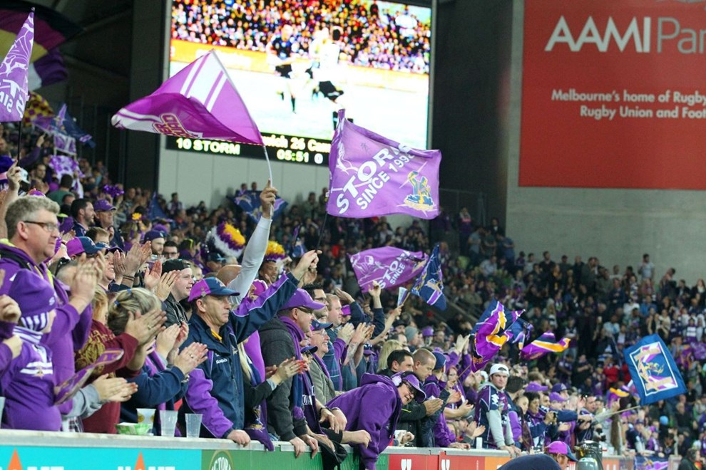 Melbourne Storm celebrate   Digital Image by Brett Crockford ©nrlphotos.com :	    NRL, Rugby League, Finals Week 3,  Melbourne Storm v North Queensland Cowboys @ AAMI Park, Melbourne, VIC, Saturday 26 September, 2015.