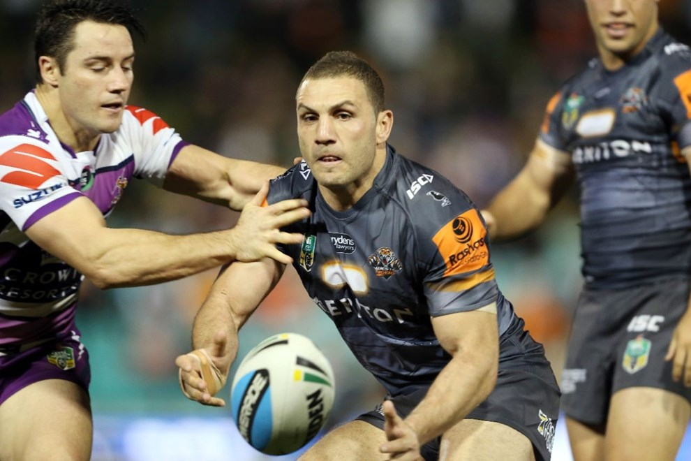Robbie Farah : NRL Rugby League - Tigers V Storm at Leichhardt Oval, Friday July 31st 2015. Digital Image by Robb Cox ©nrlphotos.com