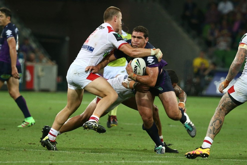 Competition - NRL Premiership Round - Round 01 Teams – Melbourne Storm v St George Illawarra Dragons Date –    7th of March 2016 Venue – AAMI Park, Melbourne VIC Photographer – Brett Crockford Description –