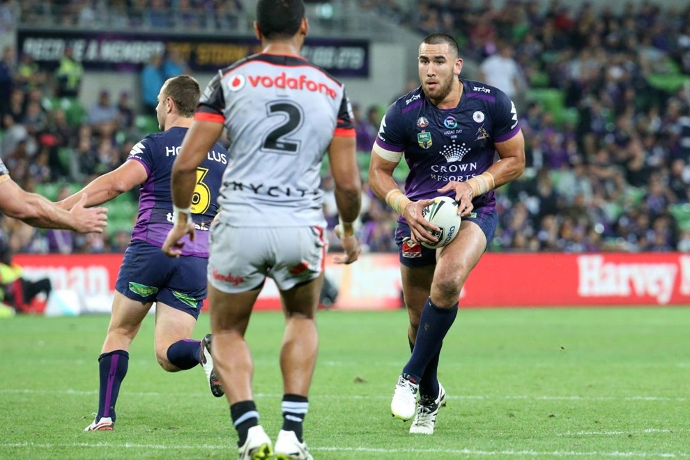 -       Competition - NRL Premiership -       Round - Round 08 ANZAC DAY -       Teams – Melbourne Storm v New Zealand Warriors -       Date – 25th of April 2016 -       Venue – AAMI Park, Melbourne VIC -       Photographer – Brett Crockford -       Description –