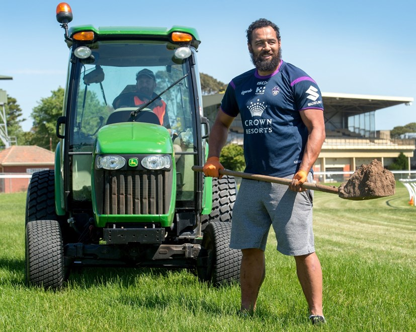 Melbourne Storm players, Sam Kasiano and first-year Kayleb Milne have been digging holes, repairing divots, landscaping etc at Werribee Racecourse for the past week. 