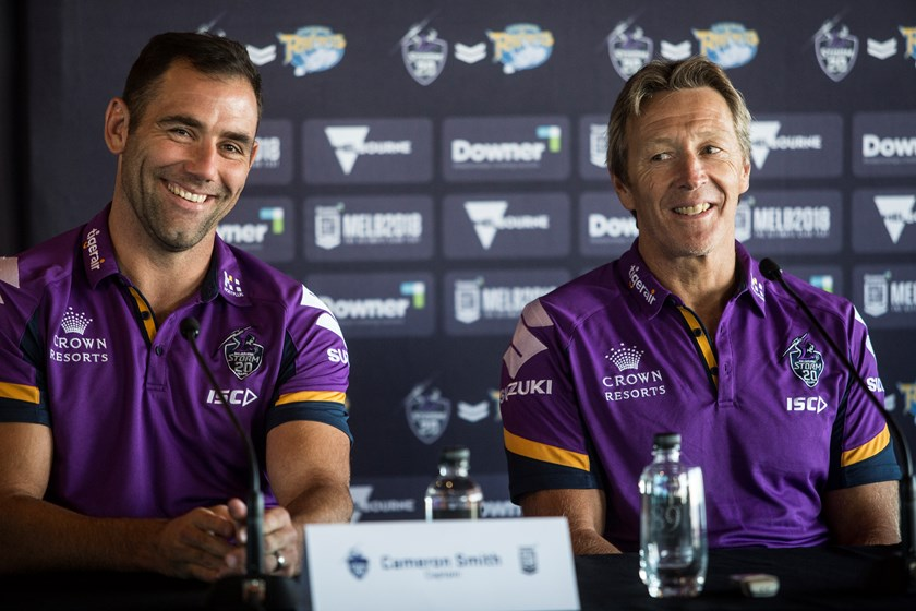 Storm Captain Cameron Smith and Coach Craig Bellamy share a laugh at Monday's Official Downer World Club Challenge Press Conference.