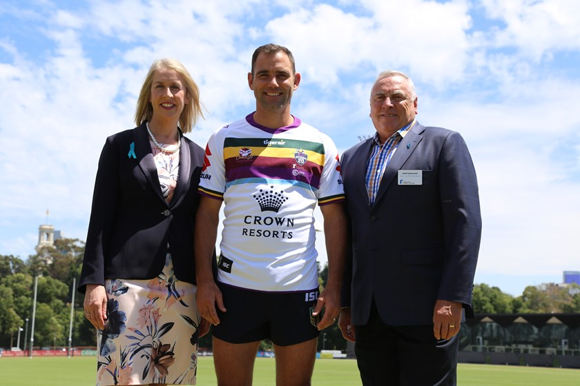 Cameron Smith alongside Jane Hill from Ovarian Cancer Australia and Geoff Underwood from the Prostate Cancer Foundation of Australia.