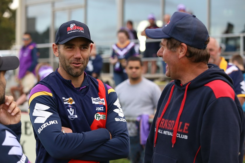 Cameron Smith meets the locals at Bairnsdale Football and Netball Club.